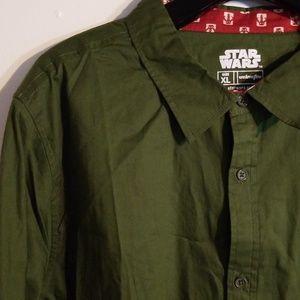 NWT Star Wars Boba Fett Button Down Shirt
